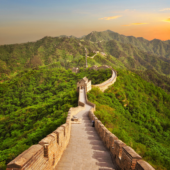 Great Wall of China during sunset