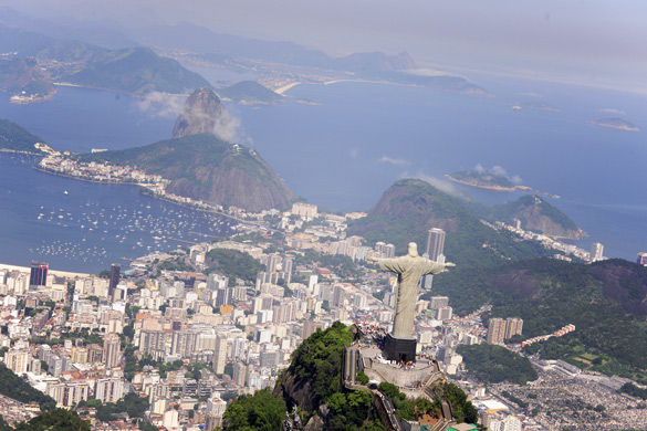 Aerial view of Christ Redeemer and Sugarloaf in Rio de Janeiro